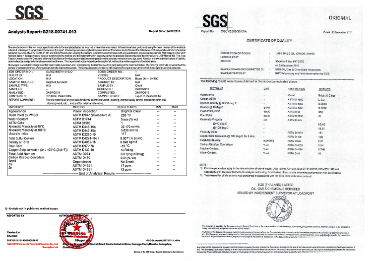 test reports base oil